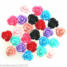 20 SMALL RESIN ROSE FLOWER CABOCHONS 10mm Flat Back Embellishment Decoden Crafts