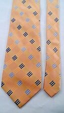 100% Silk Michael Kors Designer Necktie Tie Peach Gold Stripe Blue Block Accent