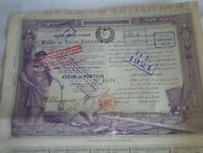 Vintage share certificate Stocks Bonds Mines de Balia Karaidin 1904 ottomane