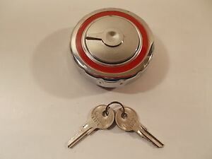 67 68 SAAB V-4 & Deluxe V4 Gas Cap Locking Chrome Vintage USA Made