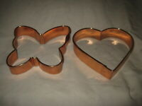 "Copper HEART & BUTTERFLY Cookie Cutters 5"""