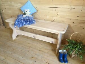 Stripped solid pine farmhouse kitchen dining boot bench hall seat
