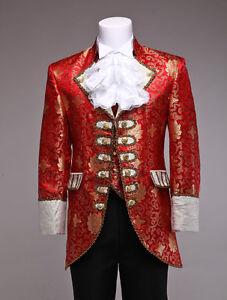 Red Retro Mens Prince William Suits Renaissance King Louise Suit Period Costume