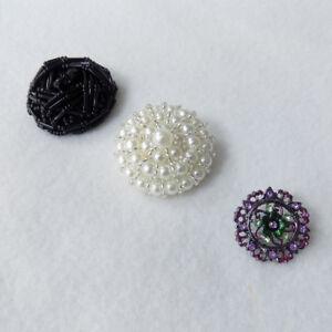 La Mode Large Beaded Metal Feature Shank Buttons - Black, Pearl, Purple & Green