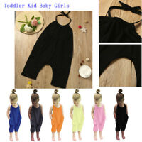 Toddler Infant Kids Baby Girls Halter Romper Jumpsuit Playsuit Pants Outfits Set