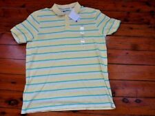 Mens Yellow Striped Polo Top Short Sleeve Size L