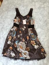 NWT $128 Free People Dark Grey Floral Poly Silk Dress Size 8