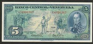 1966 VENEZUELA 5 BOLIVARE NOTE UNC