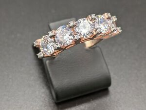 Rose Gold Cubic Zirconia Handmade Womens 925 Sterling Silver Ring 6.5