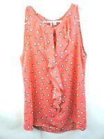 """Elle Womans Orange Polka Dot Sleeveless Blouse Size XS """"FF"""""""