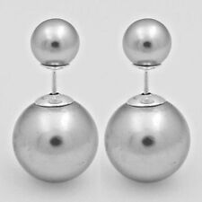 Double Sided Gray Pearl Stud Earrings Sterling Silver 925 Best Deal Jewelry Gift