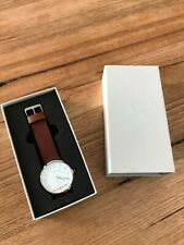 The Horse 'The Original' Unisex Watch Polished Stainless Steel/Brown Leather