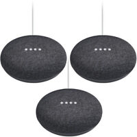 Google Home Mini Smart Speaker with Google Assistant 3-Pack Bundle - Charcoal
