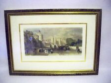 WINDSOR Castle -Antique Aquatint Engraving by Sands from a drawing by Allom 1900
