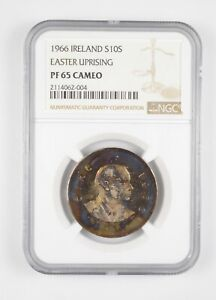 Better PF65 CAMEO 1966 Ireland 10 Scilling Silver Easter Uprising Grade NGC *723