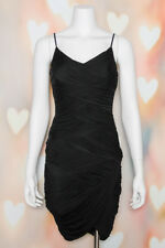 NWOT Sexy *HALSTON HERITAGE* Black RUCHED CAMI Wiggle COCKTAIL MINI DRESS XS