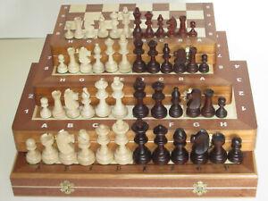Schach Schachspiel intarsie Turnier Tournament Staunton 3 4 5 6 7 Holz