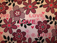 BREAST CANCER FLOWERS LOVE PINKS COTTON FABRIC FQ