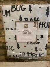 Pottery Barn Teen Holiday Bah Hum Bug Organic Flannel Sheet Set FULL Christmas
