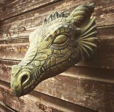 "Wyvern dragon head wall plaque stone home or garden ornament 28cm/11"" deep"
