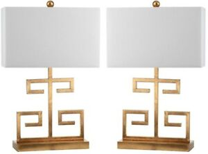 Table Lamp 24 in. Metal Base in Gold Finish with Off-White Shade (Set of 2)