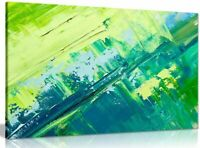 Abstract Oil Painting Green Yellow Canvas Wall Art Picture Print