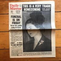 Vintage Daily Mirror Newspaper Feb 8 1952 King George VI Queen Elizabeth