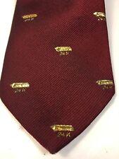 24K Gold Bar Skinny Tie Burgundy Vintage Nice Goldfinger