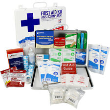 Bulk First Aid Kit, 198 Piece, OSHA & ANSI B, 50 Person Powder Coated Steel Case