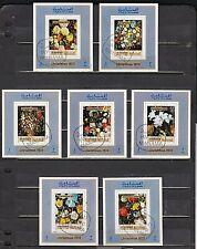 """1970 Seven Matching Souvenir Sheet Set of """"Christmas Flowers."""""""