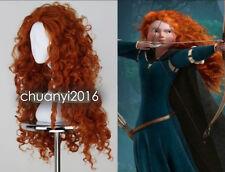 Movie Brave Merida Women Long Curly Orange Heat Resistant Cosplay Wigs+Wig Cap