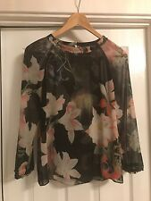 ted baker opulent bloom floral blouse top size 1 approx uk 8