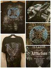 Affliction Shirt Size 2XL S/S Live Fast Distressed Tribal Graphic Spellout USA