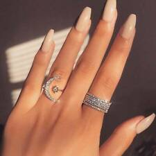 Fashion Jewelry Women's Adjustable Crescent Moon & Star Ring Silver 22-4