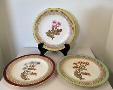 "LOT OF 3 ANTIQUE 1880s OVINGTON BROTHERS HAND PAINTED 7 3/4"" FLORAL PLATES W2140"