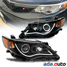 2012-2014 Toyota Camry [R8 Style Neon Strip LED Halo] Projector Black Headlights