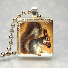 Squirrel Forest Animal Pine Cone Altered Art Scrabble Tile Pendant Jewelry Charm