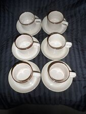Six x Denby Beige Cups And Saucers