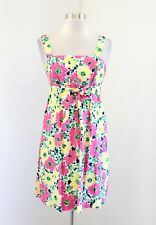 Lilly Pulitzer Avaline Doodle Bug Floral Removable Strap Dress Sz 2 Pink Yellow