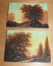 ancienne paire de petit tableau sur bois arlésienne