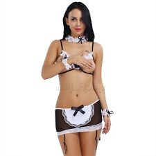 Women Ladies Lace Costume Cosplay French Maid Sexy Lingerie Outfit Fancy Dress!