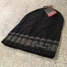 Pierre Cardin Paris Men's Black Cable Knit Beanie BNWT OSFA l Designer Skull Cap