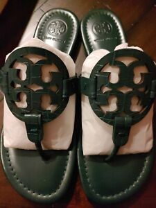 Tory Burch Miller Croc Embossed Norwood Green Logo Sandals 6.5 NEW +Dustbag Auth