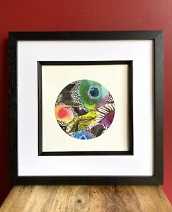 Multi Coloured Abstract Ink Drawing. Original Artwork.19.5x20cm. Unframed