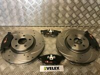 DRILLED & GROOVED FRONT BRAKE DISCS & PADS FORD TRANSIT CONNECT  2013 >