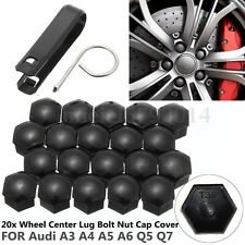 Tool Free 20pcs 17mm Wheel Lug Bolt Nut Cap Cover For Audi A3 A4 A5 A6 Q5 Q7