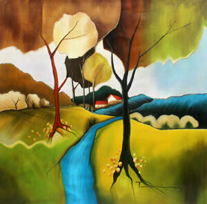 Modern Home Decor Wall Art on Canvas Print,Itzchak Tarkay Landscape Oil Painting