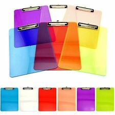 6 Pack Transparent Colorful Clipboard Sets Office Desk Supplies Document Holder