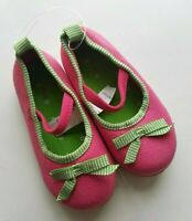 Baby Gap Girls Mary Jane Ballet Flats Shoes Bow Pink Green Toddler Size 7 NEW