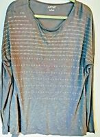 GRAY w/ Silver Studs Sparkly Bling High-Low Long Slv Shirt Top XL  NWOT Apt. 9